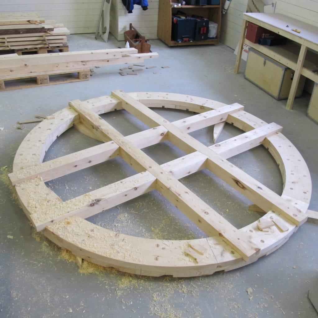 kryssarmer til løtring til tradisjonelt vannhjul