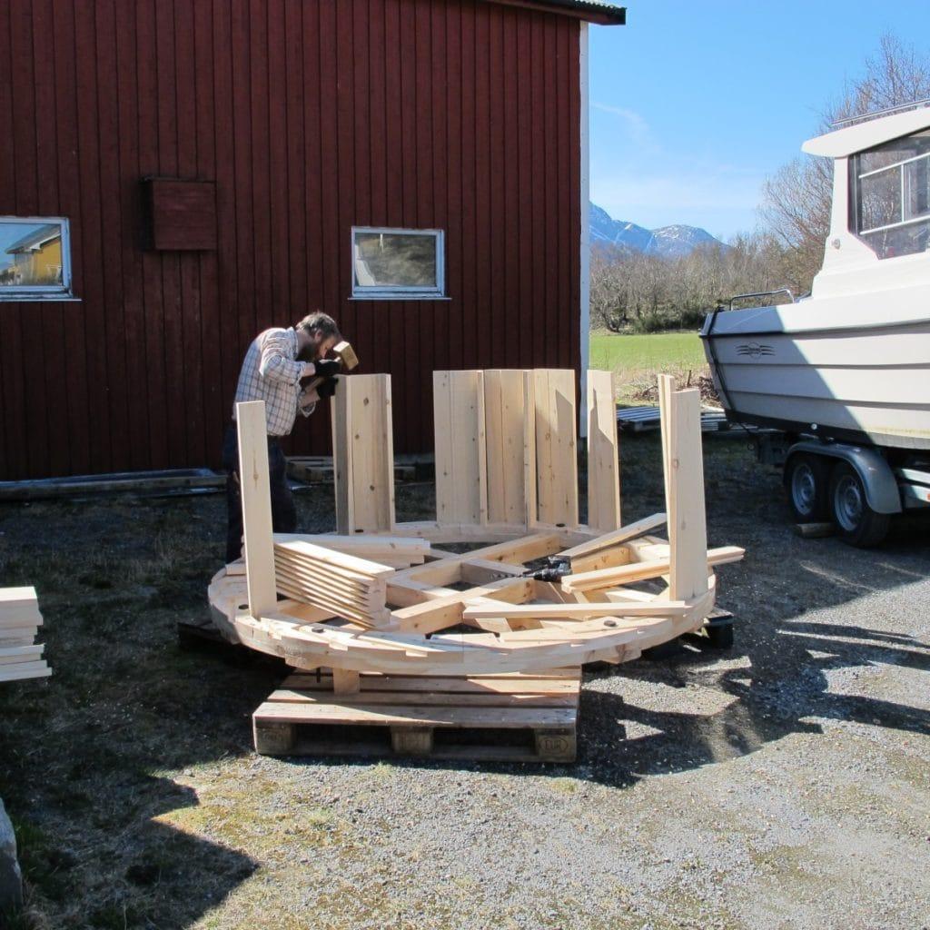 skovler til vannhjul monteres